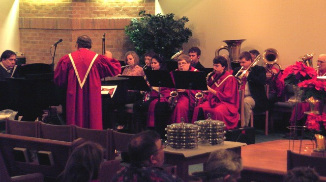 The band plays to the enjoyment of the Christmas Eve congregation.